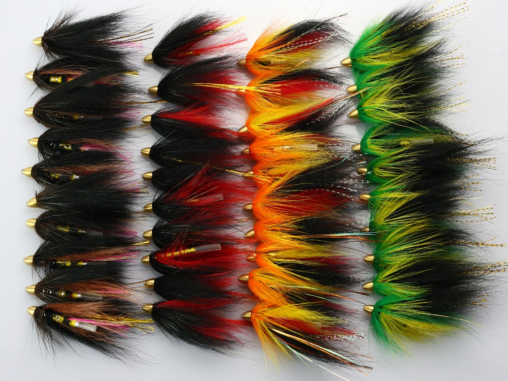 40Pcs Tube Fly Flies Cone Heads Green/Orange Salmon And Sea Trout Fly Fishing Lures