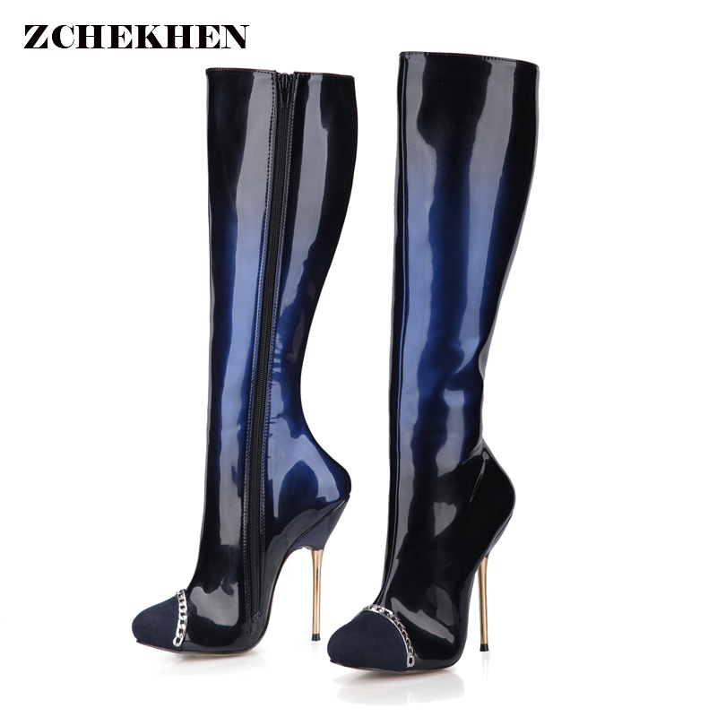 2018 Sexy Over The Knee High Women Boots Metal Thin High Heel Platform Fashion Ladies patent Leather chain Boots Size 34-43 qutaa 2018 sexy over the knee high women boots thin high heel round toe platform fashion ladies pu leather boots size 34 43