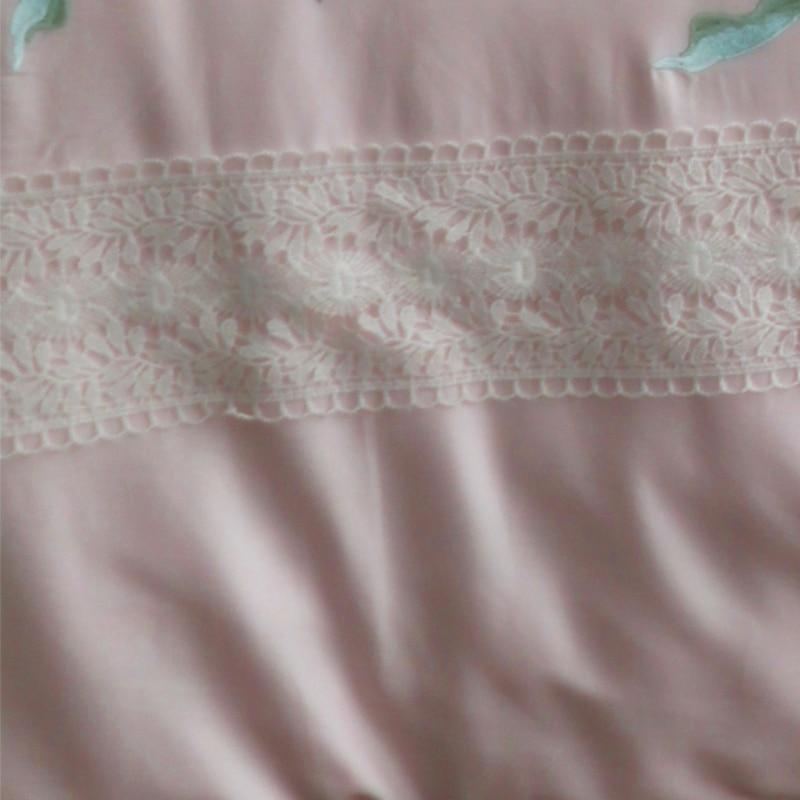 Luxe egypte coton fleurs et oiseaux ensemble de literie broderie soyeuse housse de couette drap de lit taies d'oreiller reine roi taille 4/6/7 pièces - 2