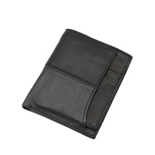 Men's wallets, men's short, casual, vertical, Korean versions of genuine leather wallets, students' wallets, black 831