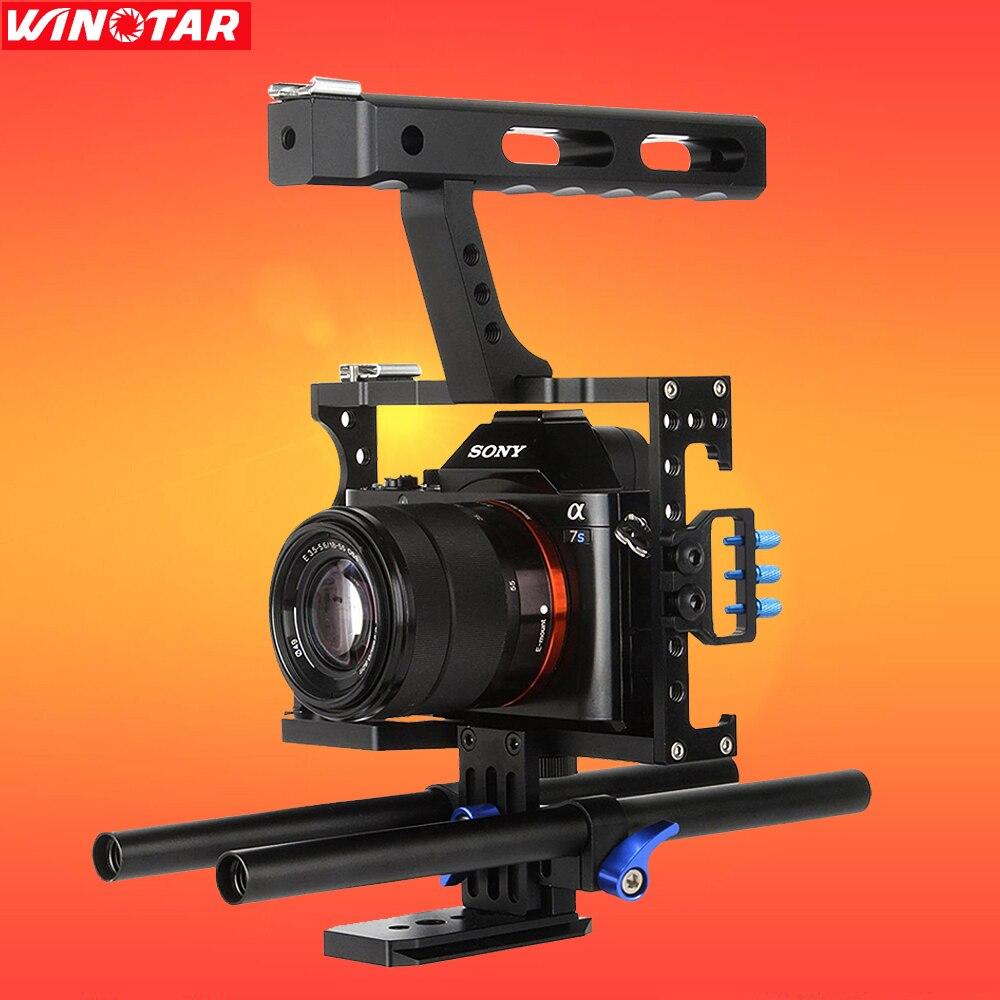 Kit de Cage vidéo pour appareil photo reflex numérique 15mm + poignée supérieure pour Sony A7II A7R A7S A6300 A6500 Panasonic GH4 GH3/EOS M5/M3