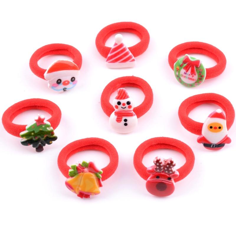 2Pcs/Pack Children's Christmas Hair Accessories Kids Cute Santa Claus Elk Cartoon Headbands Hair Rubber Band for Girls   Headwear