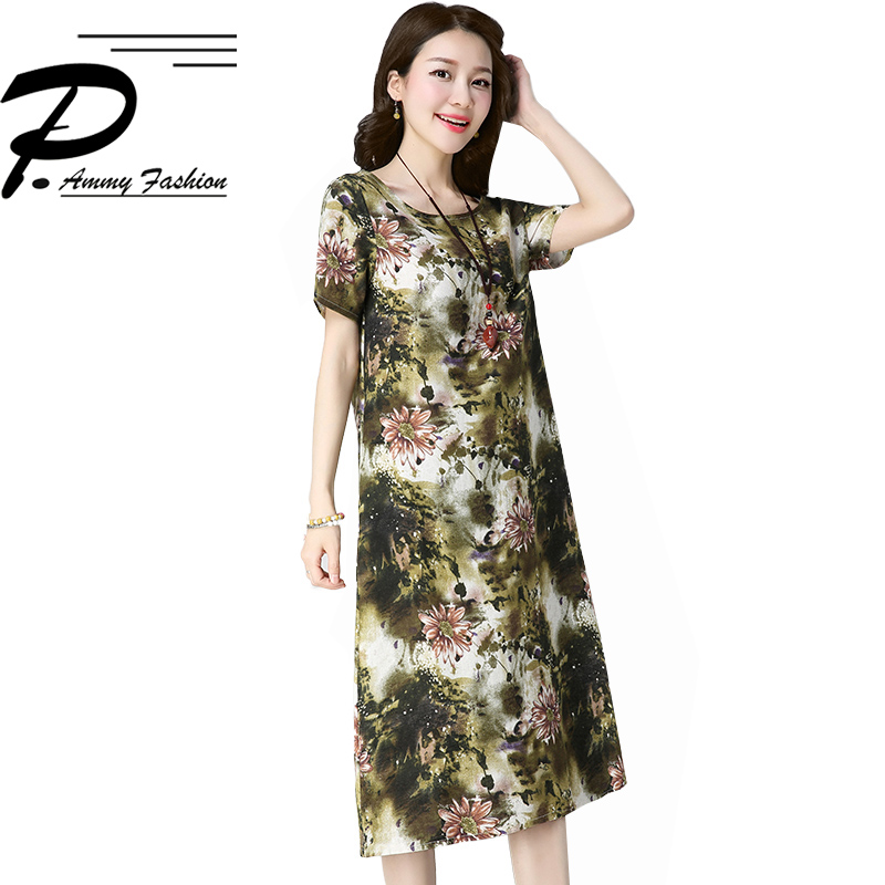 US $14.83 47% OFF|Fashion New Chinese Style Print Cotton Linen Jumper Dress  Womens Summer Plus Size O Neck Short Sleeve Casual Dress-in Dresses from ...