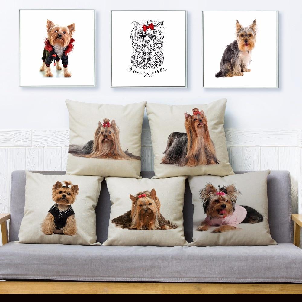 Cute Pet Dog MINI Yorkshire Terrier Print Pillow Cover 45*45cm Square Cushion Covers Linen Pillow Case Home Decor Pillows Cases