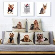 Lindo perro mascota MINI Yorkshire Terrier impresión almohada cubierta 45*45 cm cuadrado cojín cubre funda de almohada de lino hogar Decoración almohadas fundas
