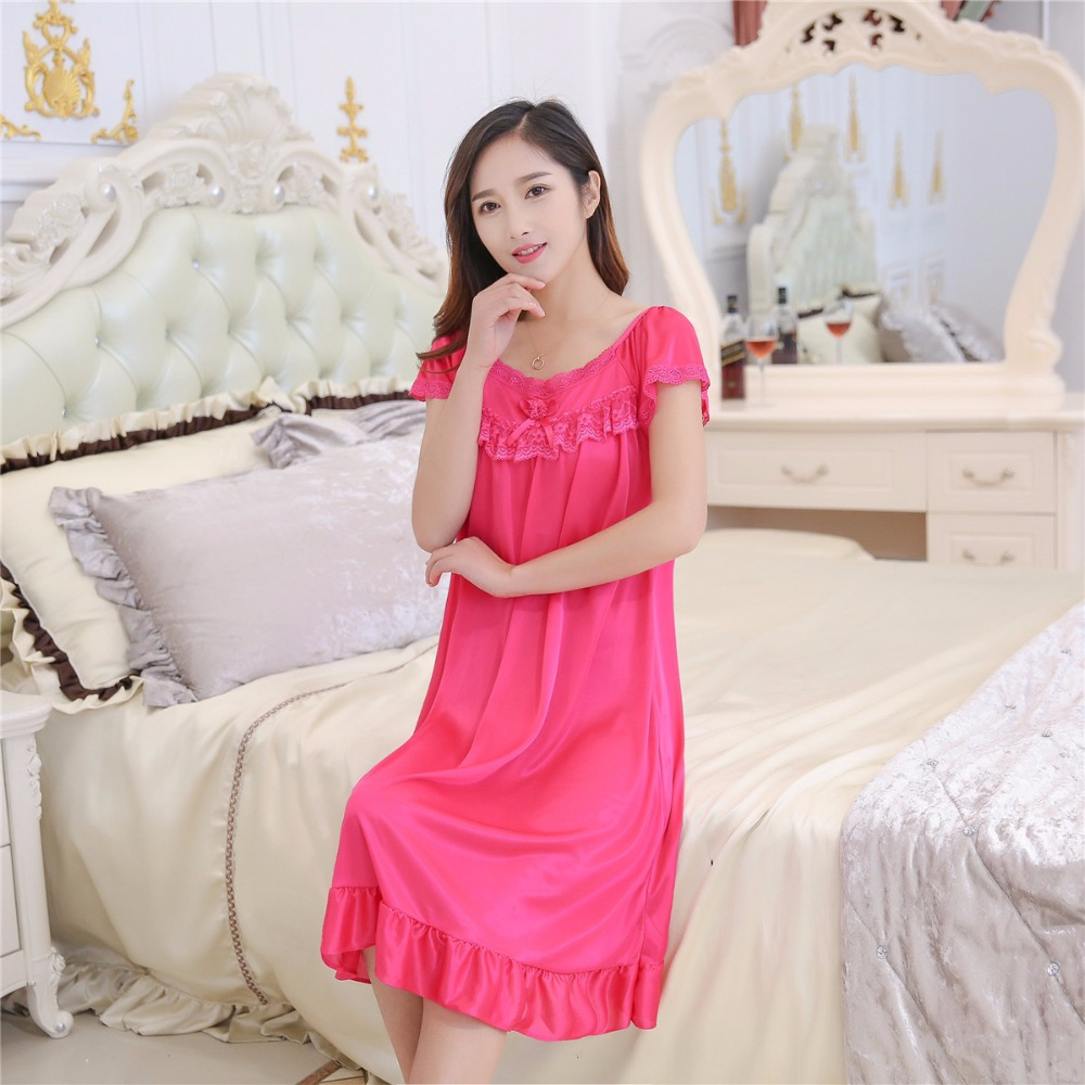 2019 Hot Sale Plus Size 2XL New Sexy Silk Nightgowns Women Casual Chemise Nightie Nightwear Lingerie Nightdress Sleepwear Dress 1