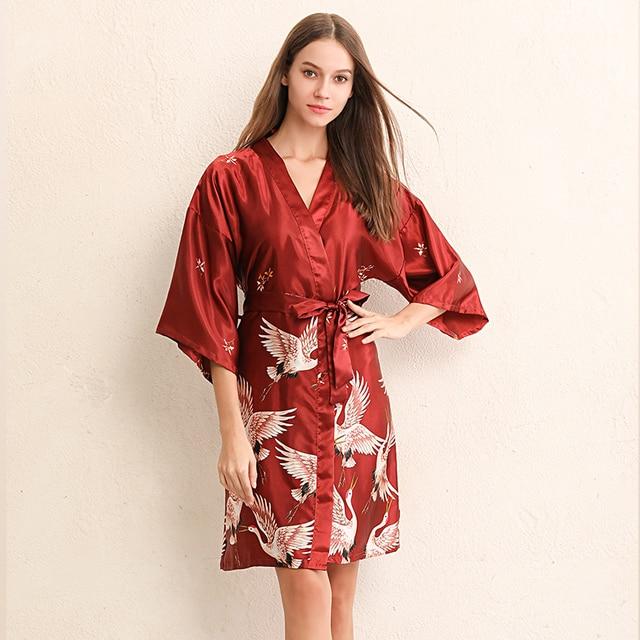 b456102383a New Women Sexy Night-robe Half Sleeve Silk Nightgowns Ladies nightdress  woman cute bathing robe