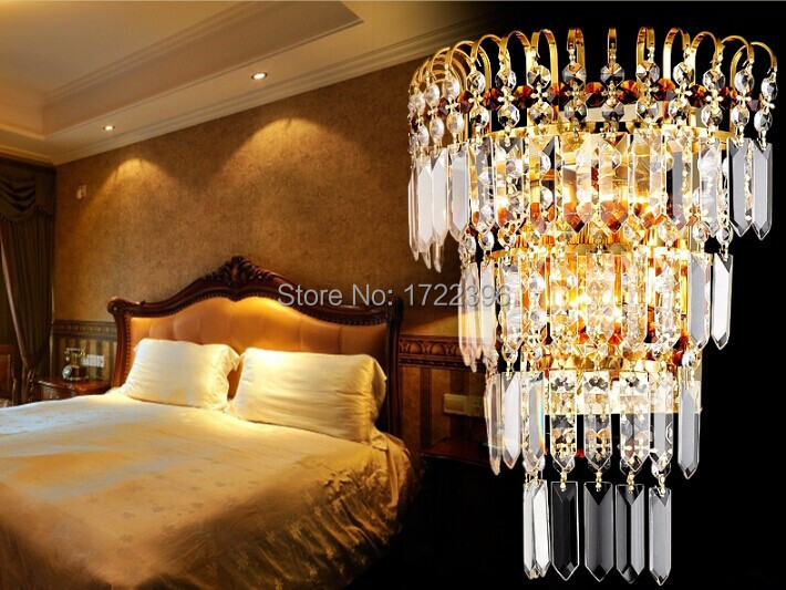 Crystal Led Wall Light, 2 Lights,Golden,Modern Incision Electroplate Tempering For Home Wall Sconce,Bulb IncludedCrystal Led Wall Light, 2 Lights,Golden,Modern Incision Electroplate Tempering For Home Wall Sconce,Bulb Included