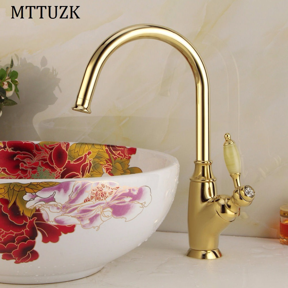 Kitchen Faucet Golden Polished Basin Tap Luxury Faucet kitchen bathroom single handle taps faucets