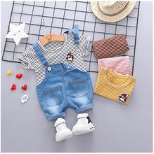 2019 Summer Baby Boys  Girls Clothing Sets Infant Toddler Clothes Suits Penguin T Shirt  Shorts Kids Children Casual Suit цена и фото