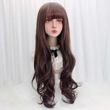 "32""Synthetic Long Wavy Lolita Wigs With Bangs Purple Brown Ombre Custom Party Cosplay Lolita Wigs For Women Heat Resistant 265g(China)"