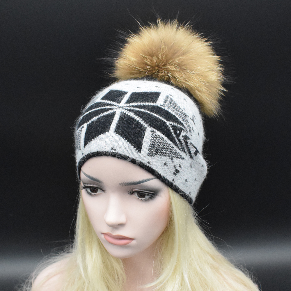 Hot Sales Natural Fur Knitted Hat Women High quality wool caps Winter fur pompoms Hat Fashion
