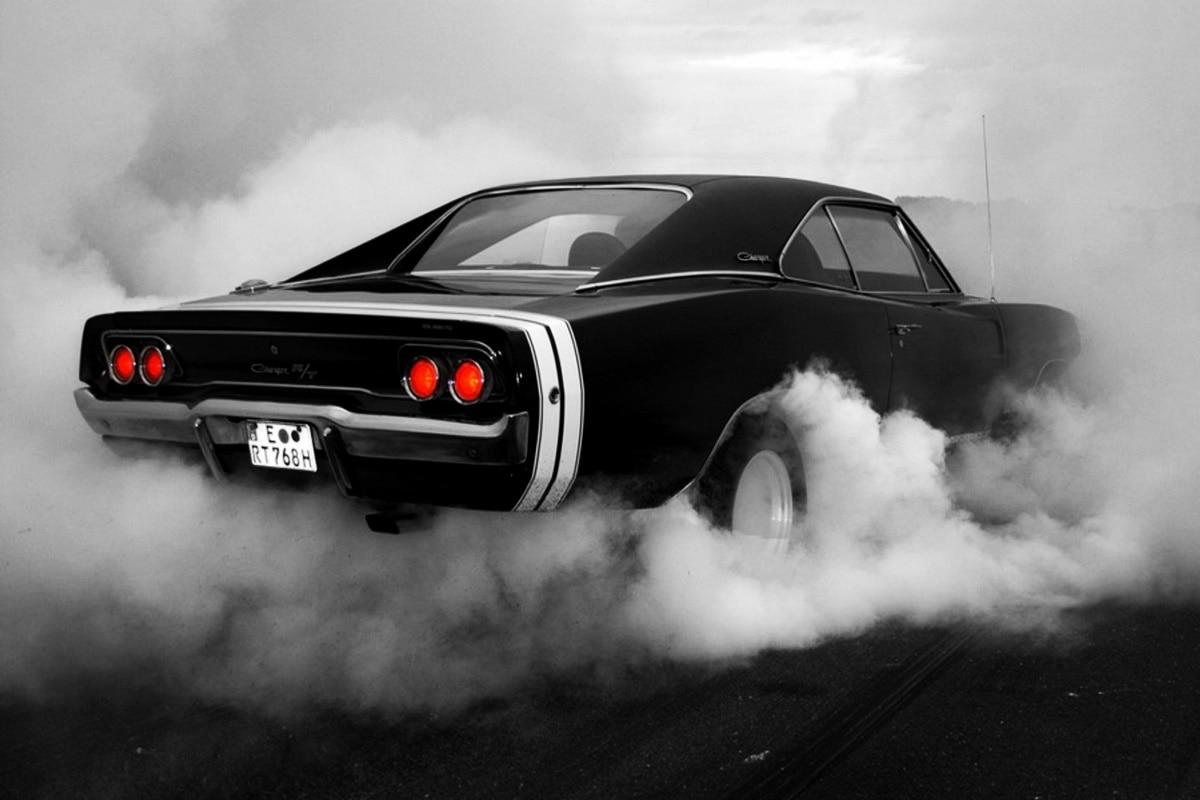 muscle cars 1969 monochrome charger burnout hot rod smoke tuning ka048 living room home wall modern