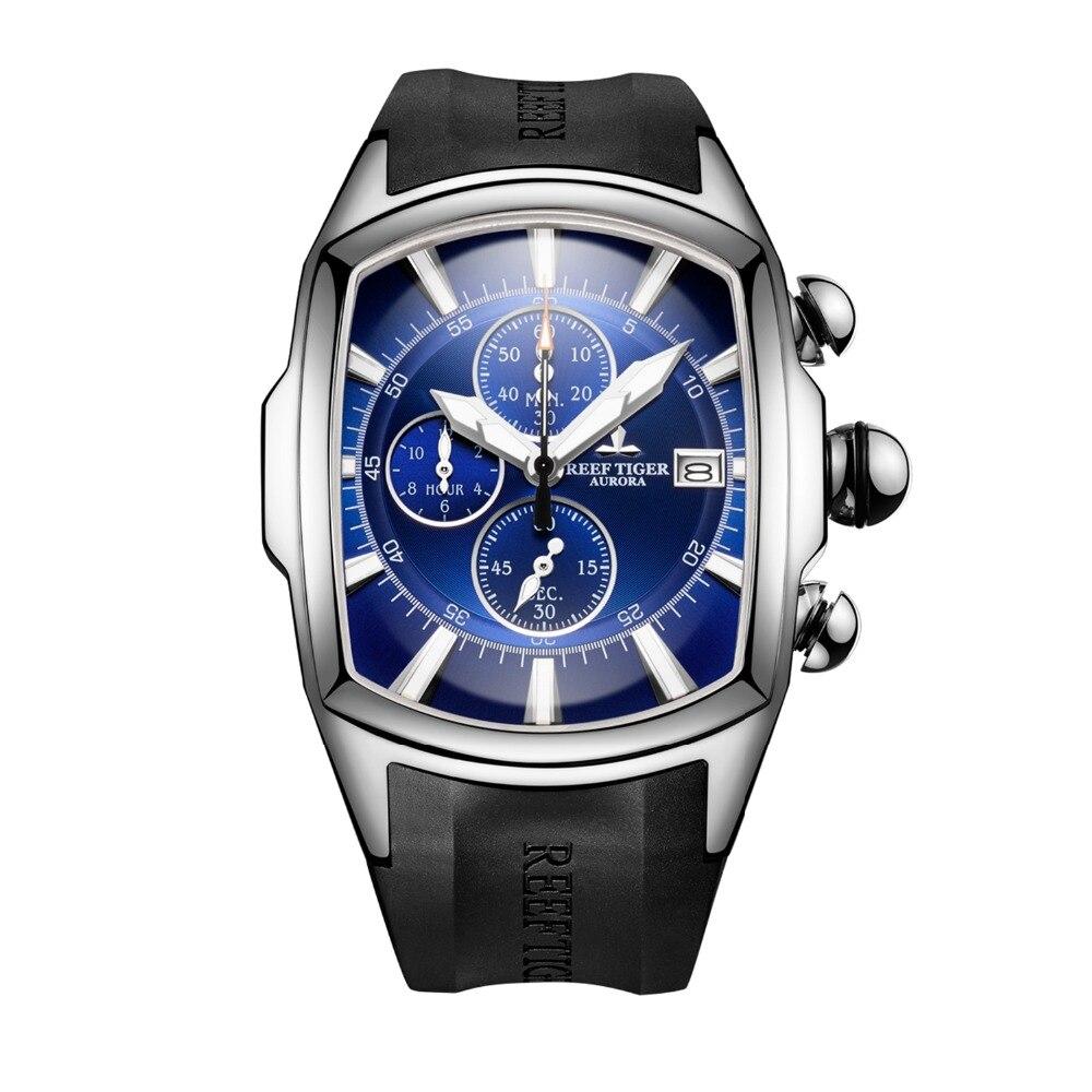 Récif tigre RGA3069-T hommes multifonction Quartz montre-bracelet avec étanche, chronographe, lumineux-argent