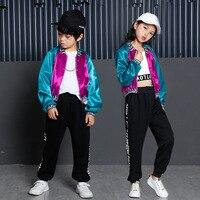 Los niños Hip Hop ropa Ropa de baile traje para niñas Color bloque chaqueta  cultivo tanque 123ce912117