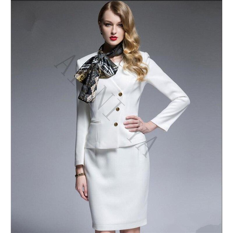 9e4b5bf15 Trajes de falda de mujer blanco negro Formal trajes de negocios con falda +  chaqueta elegante mujer uniforme de oficina señoras traje de graduación de  noche ...
