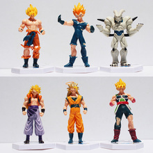 Anime Dragon Ball Z Super Saiyan Goku Vegeta Gotenks Buu PVC Action Figure Toys 6pcs/set 12cm Approx