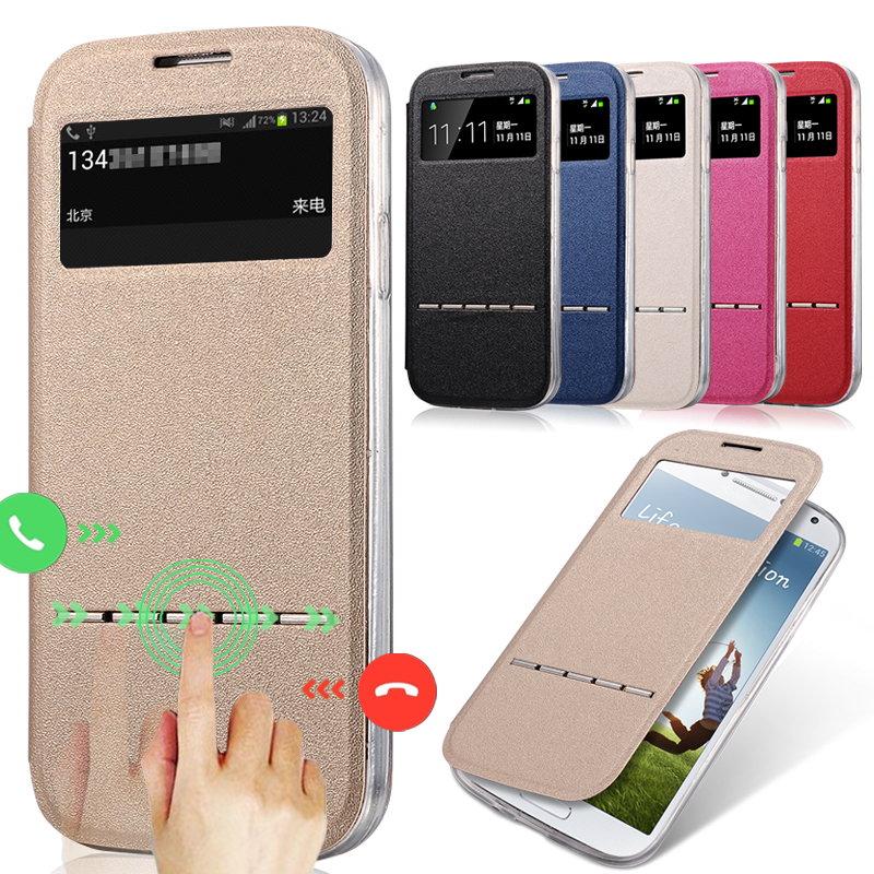 for Samsung Galaxy S6 Cases Luxury Smart Answer Leather Flip Silicone Case for Samsung S4 S5 mini Note 2 3 4 5 Shell Cover Capa image