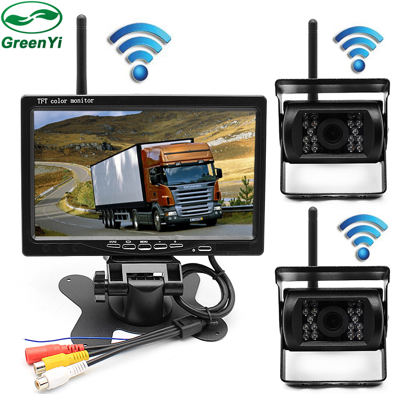 HD 7 Inch Car Parking Monitor With IR LED Rear View Camera 2.4 GHz wireless Transmitter Receiver Kit For Truck Trailer Bus
