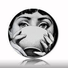 Топ Мода Милан Лина лицо тарелки чистый цвет черный белый иллюстрация висящая керамическая ваза посуда образец комнаты дома отель украшения