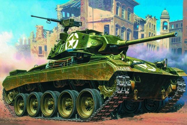 art tank M24 Chaffee light tank USA WW2 old military vehicle QX126 room home wall modern art decor wood frame poster