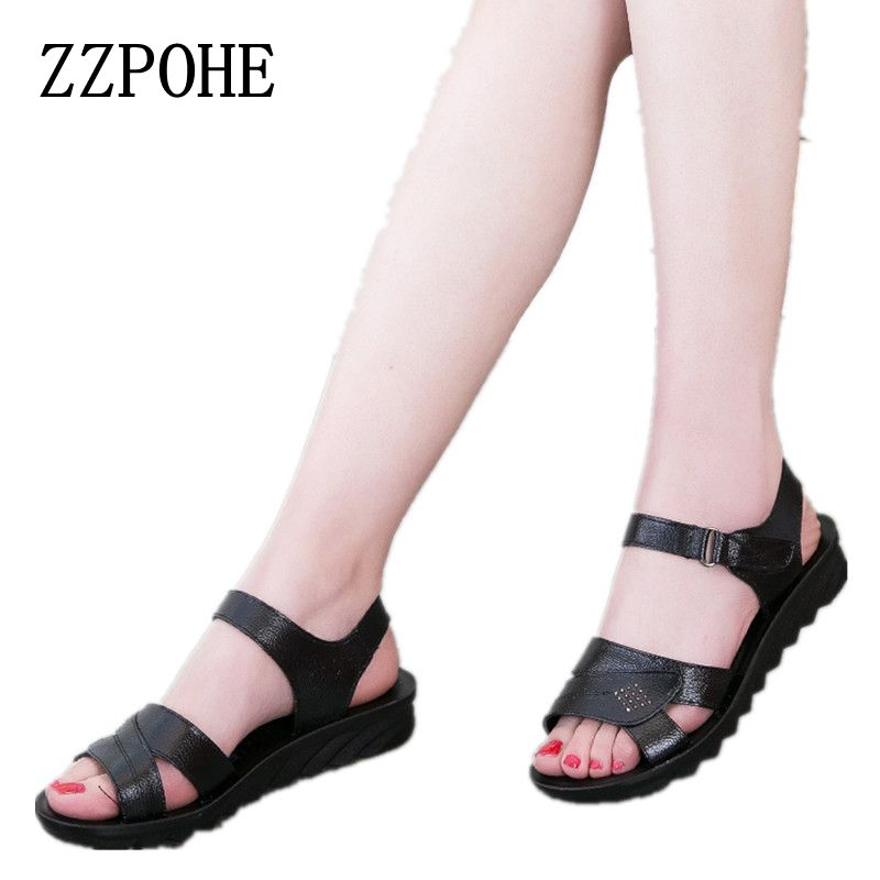 ZZPOHE 2018 summer new mom fashion sandals soft bottom comfortable middle-aged with sandals large size black woman sandals 40 41 timetang summer new middle aged soft leather mother sandals soft bottom elderly large size flat woman non slip sandals c212