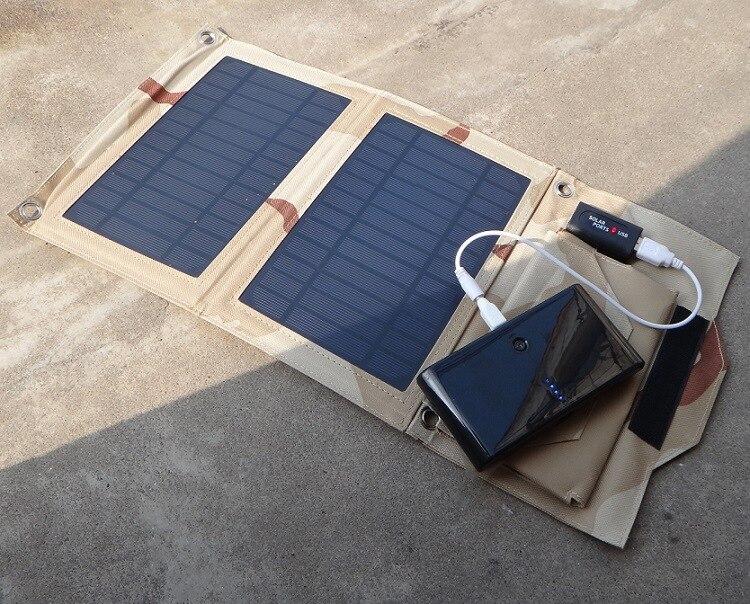5 5V 7W Outdoor folding Solar Panel USB Output Portable Foldable Power Bank waterproof travel Solar