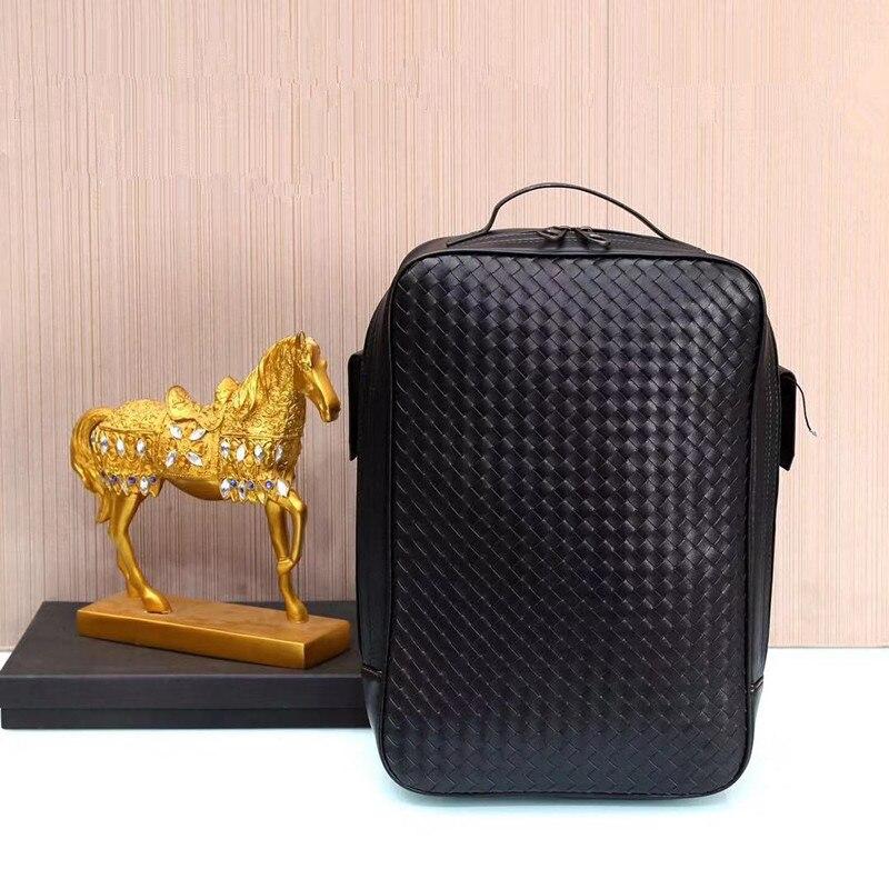 Kaisiludi cuir tisse un sac à dos double épaule, un sac en cuir de vachette, un ordinateur de grande capacité, un sac pour homme et femme