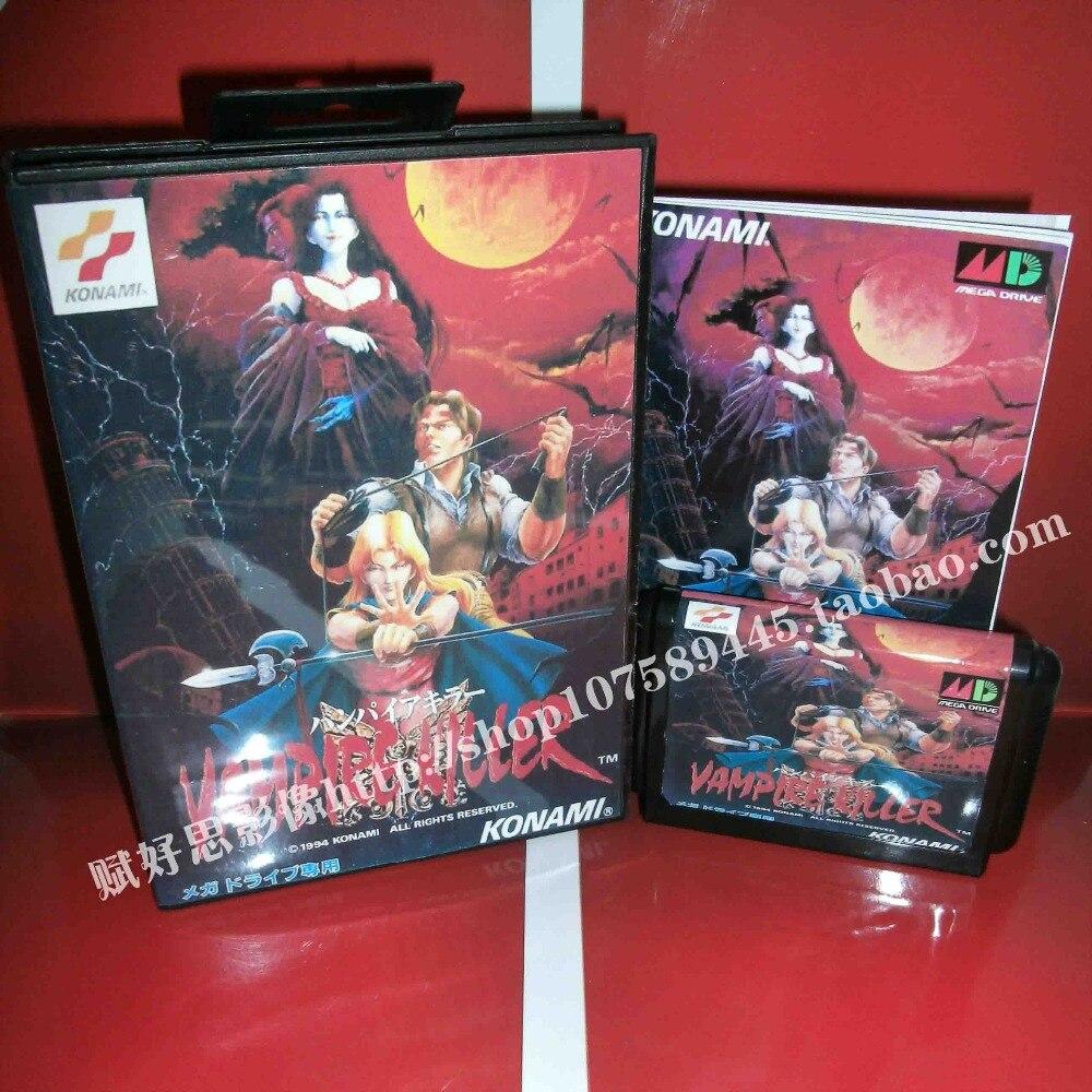 Vampire Killer (Castlevania) cartucho de juego con caja y manual 16 bit tarjeta MD para Sega Mega Drive para Génesis