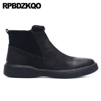 Осень 2018 г., мужские зимние ботинки на молнии высокого качества теплые осенние Роскошные короткие черные ботинки на меху ботильоны из натур...