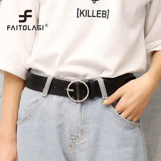 nueva productos b43ae 0acdf € 2.61 20% de DESCUENTO|Cinturones de hebilla de anillo grande para mujeres  cinturones de mujer cinturones de cuero de Pu cinturones de Color sólido ...