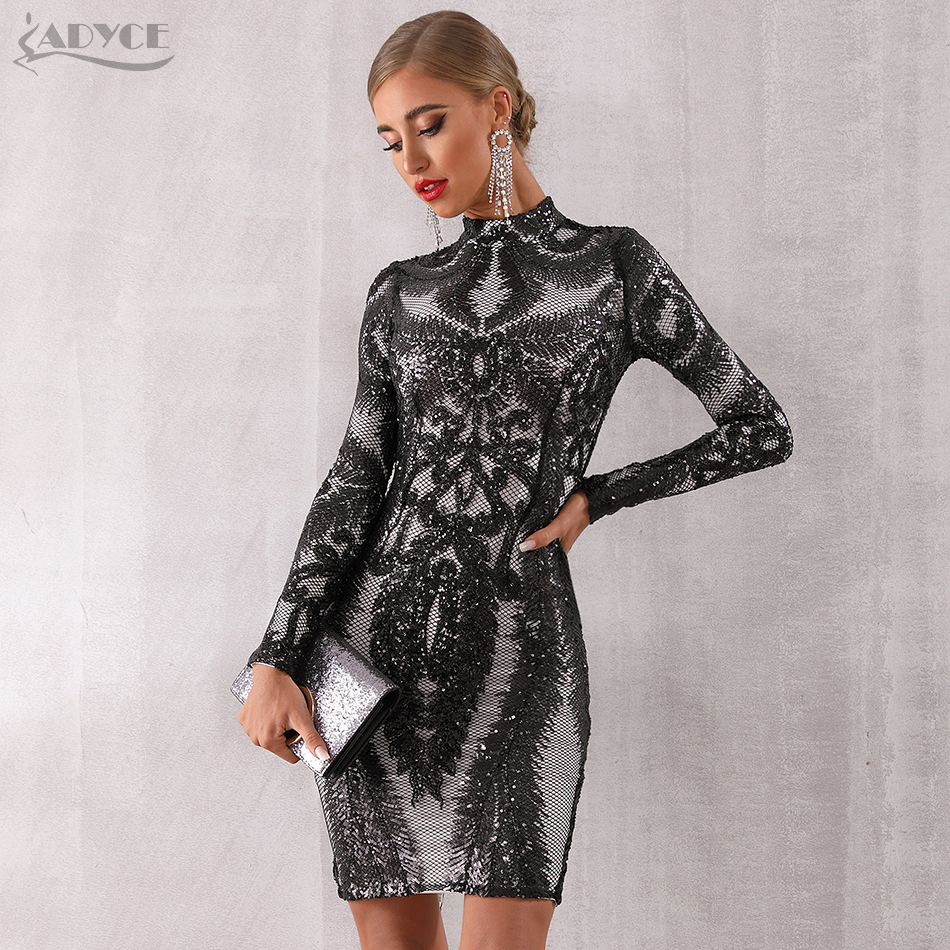 ADYCE 2019 New Spring Women Runway Sequined Club Dress Women Sexy Long Sleeve Midi Celebrity Evening