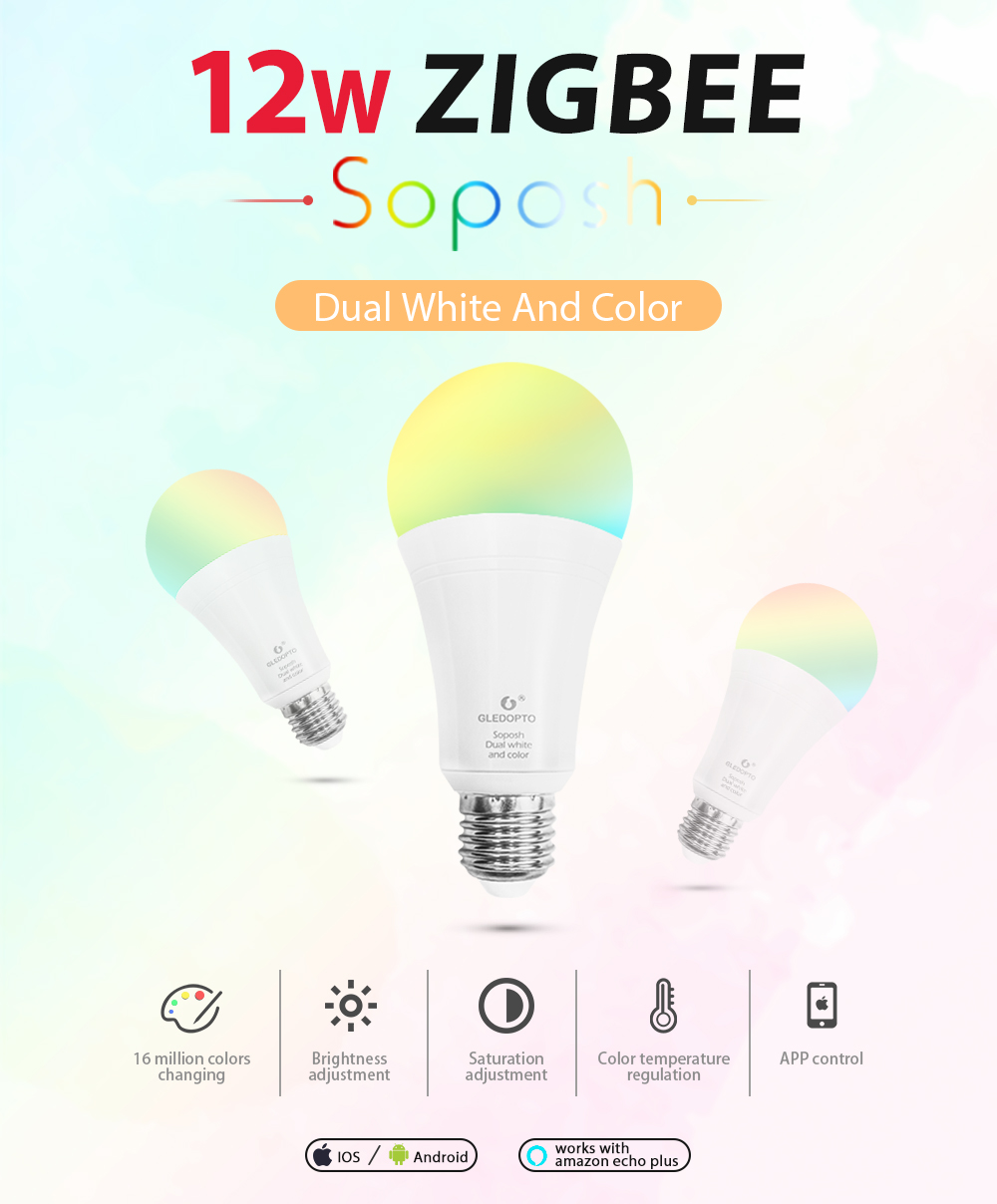 ZIGBEE E27 12W RGB+CCT LED Bulb AC96   265V RGB and dual white and color dimmable LED lamp bulb RGBW RGBWW work alexa phone|LED Bulbs & Tubes| |  - title=