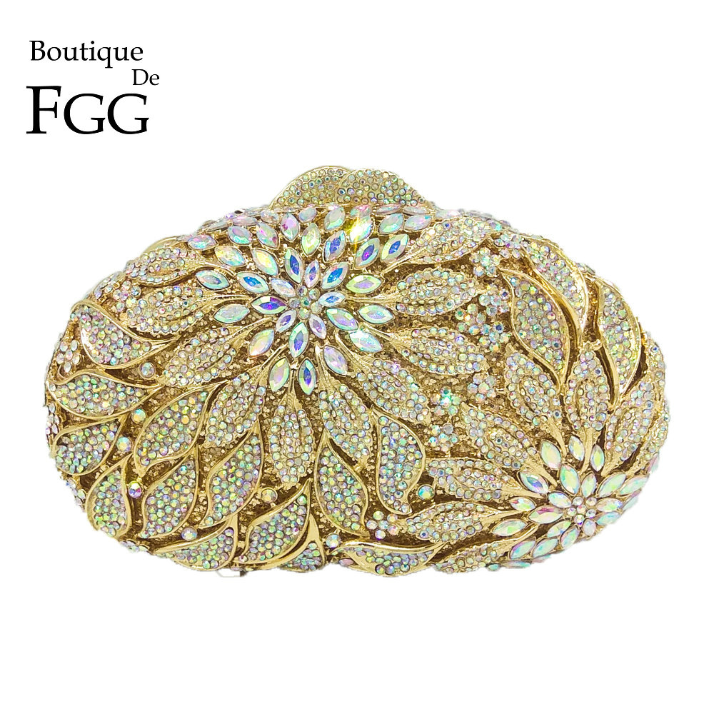 Boutique De FGG Dazzling Women Gold Metal Clutches Flower Minaudiere Handbags Purses Diamond Evening Wedding Cocktail Clutch Bag fast ship diesel engine s195 crankshaft use on suit for changchai wanli and all chinese brand