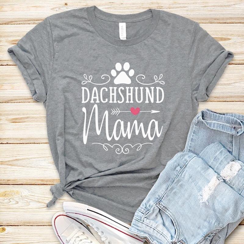 Dachshund Mama Women Tshirt 100% Cotton Summer Harajuku T Shirt Aesthetic Graphic Tees Dog Lover Tops Kawaii Clothes Drop Ship