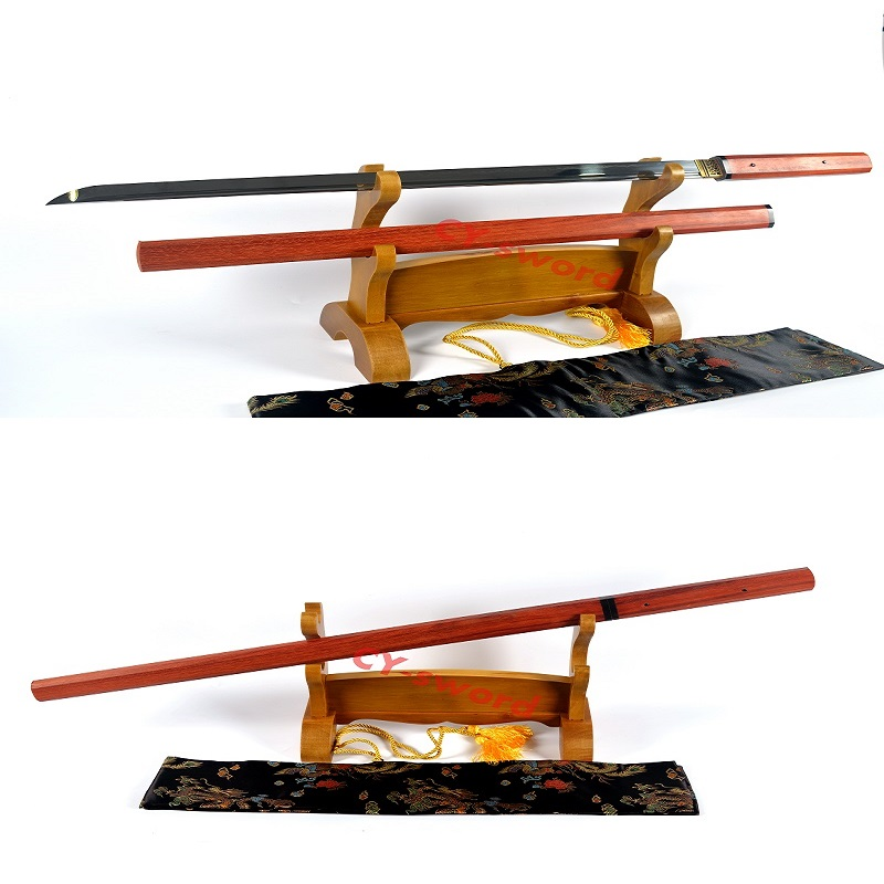 KUALITI TINGGI HANDMADE ZATOICHI JAPANESE NINJA SWORD Redwood Saya CLAY TEMPER T10 Steel BLADE Can Cut Tree