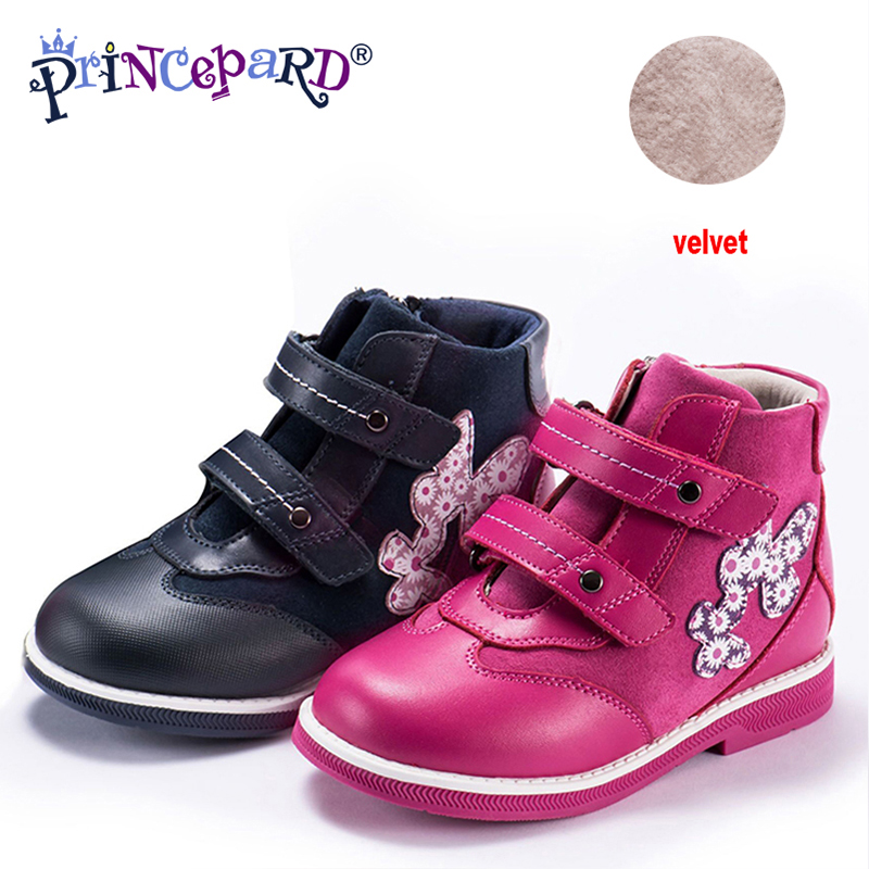 Princepard 2018 New orthopedic shoes for kids casual genuine leather pink navy color baby orthopedic shoes girls and boys 21-36 princepard genuine leather boys girls orthopedic footwears include orthotic arch support flat foot kids shoes baby shoes