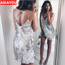 Sequined Dress Off Shoulder Sleeveless back open above knee solid dress for girls Night club party AIDAYOU ouc684a недорого