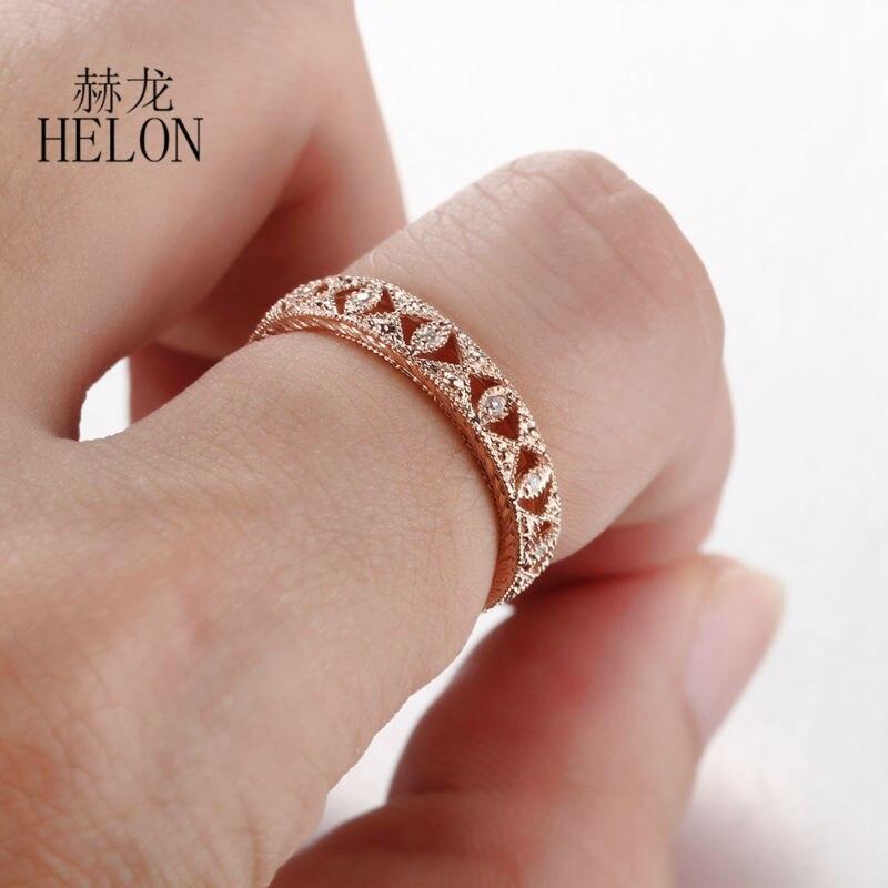 HELON Real 10K oro rosa pavé 0.1ct diamante Natural genuino compromiso boda eternidad completa Art Deco joyería antigua de las mujeres anillo-in Anillos from Joyería y accesorios    3