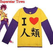 "Anime T-shirts Women Harajuku NO GAME NO LIFE Cosplay "" I Love Human"" T-shirt Long Sleeve Female Tops Tee The Game Of Life"
