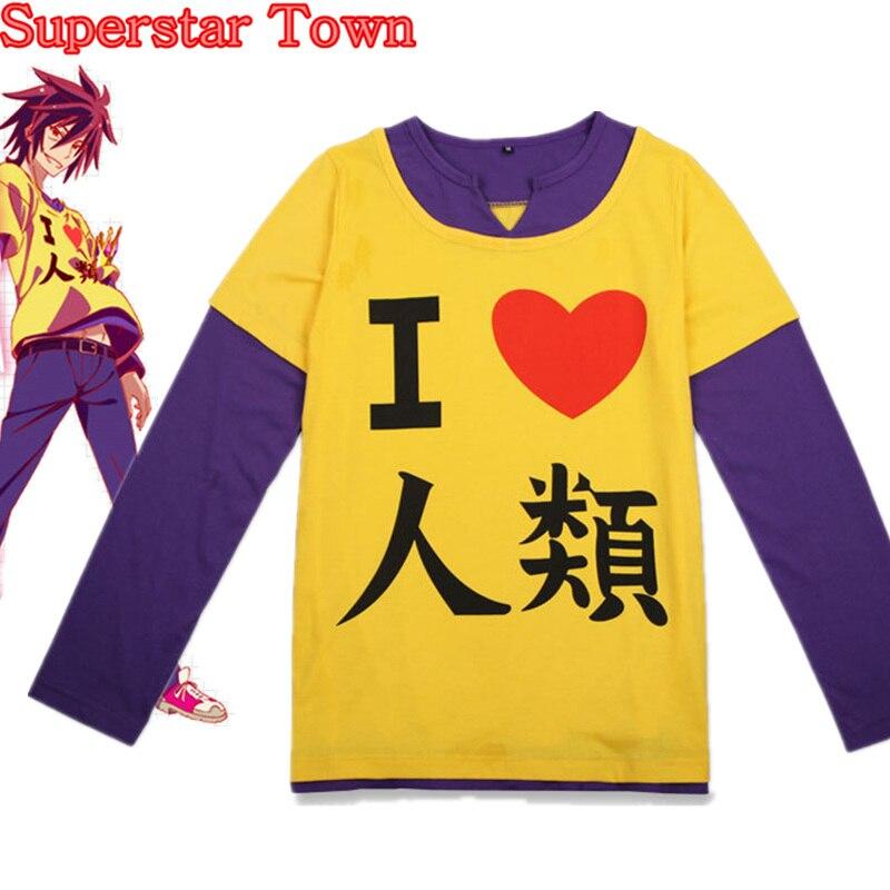 Anime T-shirts Women Harajuku NO GAME NO LIFE Cosplay  I Love Human T-shirt Long Sleeve Female Tops Tee The Game Of Life