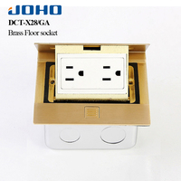 Smart Home US Standard Power Socket Brass Panel Floor Table Plug Computer Electrical Pop Socket Kitchen Rj45 Outlet With Usb