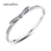 2018 New Authentic 925 Sterling Silver Original Sparkling Bow Bangle With Clear Cubic Zirconia Fit Pan