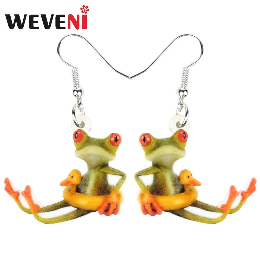 WEVENI Acrylic 2018 Duck Buoy Frog Earrings Dangle Drop New Long Anime Animal Jewelry For Women Girls Female Fashion Charms Gift
