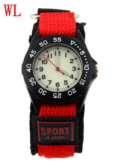 Free DHL 100pcs/lot Wholesale Hot Sales Women Men Couple Gifts Sports Luminous Watch Quartz Pulley Nylon Fabric Strap Wristwatch