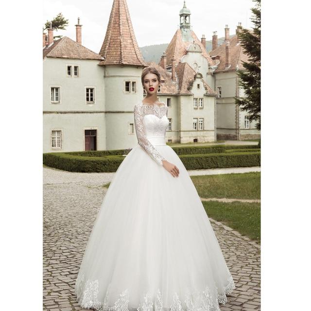 771b0a4c 2016 Elegant Long Sleeve Wedding Dress Ball Gown Garden Lace Applique Bridal  Wedding Gown Cheap Design Free Shipping