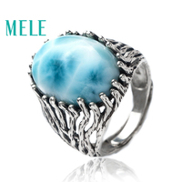Natural larimar silver 925 ring for women and man,big oval cut 13mm*18mm gemstone fine jewelry with fashion and trendy style