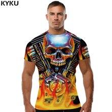 KYKU Brand Skull Shirt Hip-Hop T-shirt Mens Clothing Flame T Men Clothes Short Sleeve 3d Tshirt Streetwear Casual Wear New