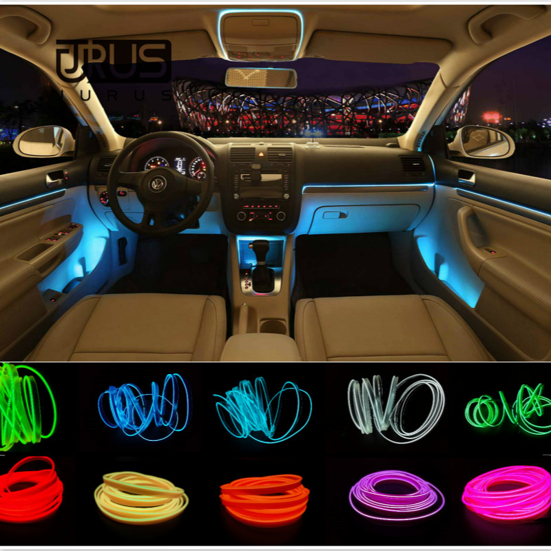 JURUS 5meters auto interior light  led el flexible el wire rope tube neon line 10 colors with 12v  inverter free shipping hot sale 10 colors 3m clamping edge two splices led flexible el wire neon glow light with 12v controller for most cars styling