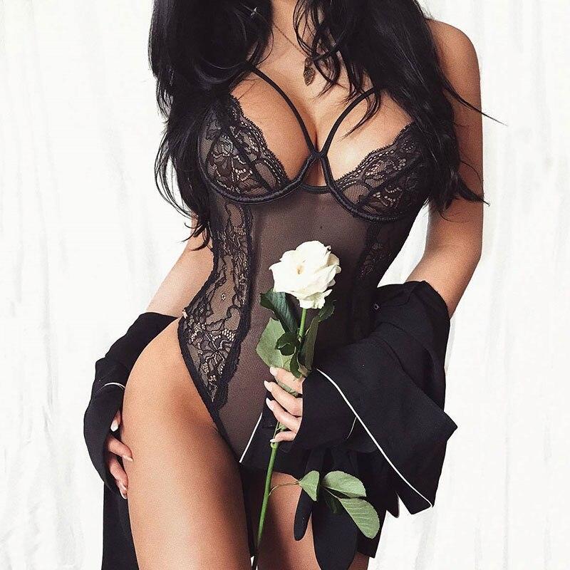 Porno seksowna bielizna damska kombinezon z przezroczystą koronką Catsuit gorąca bielizna erotyczna Teddy XXL Plus rozmiar